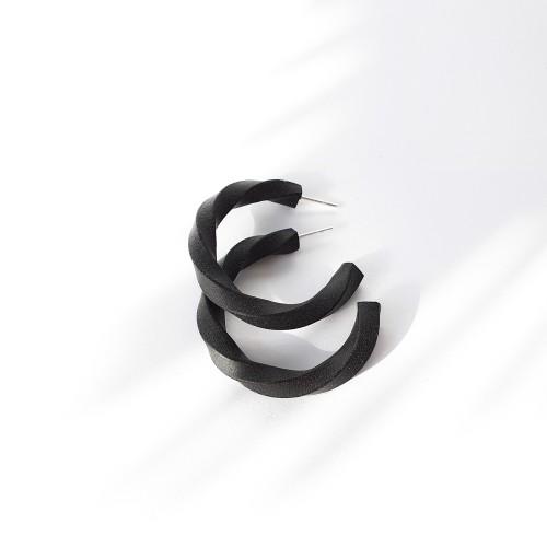 Auskarai ▪ Black twisted hoops smaller ▪